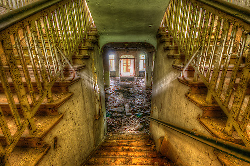 Steps in an old hotel in East Germany