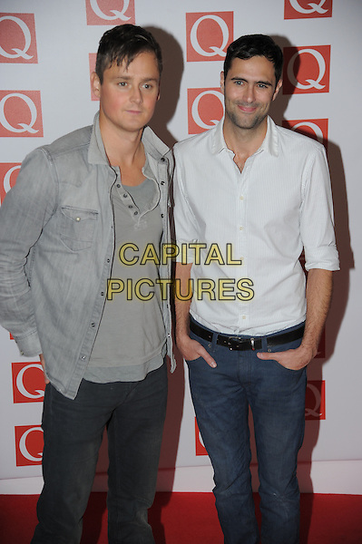 Keane - Tom Chaplin and Tim Rice-Oxley.The Q Awards 2012, Grovsnor Hotel, London, England..22nd October 2012.half length grey gray jacket white top shirt jeans denim jeans hands in pockets .CAP/CAS.©Bob Cass/Capital Pictures.