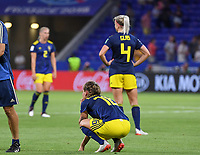 20190703 - LYON , FRANCE : Swedish players with Julia Zigiotti (middle) pictured looking dejected and disappointed after losing the female soccer game between Netherlands – Oranje Leeuwinnen - and Sweden  , a knock out game in the semi finals of the FIFA Women's  World Championship in France 2019, Wednesday 3 th July 2019 at the Stade de Lyon  Stadium in Lyon  , France .  PHOTO SPORTPIX.BE | DAVID CATRY