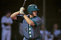 Saint Leo Lions catcher Michael Mann (16) at bat during a game against the Northwestern Wildcats on March 4, 2016 at North Charlotte Regional Park in Port Charlotte, Florida.  Saint Leo defeated Northwestern 5-3.  (Mike Janes/Four Seam Images)