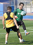 Getafe's Francisco Portillo (l) and Leandro Chichizola during training session. May 25,2020.(ALTERPHOTOS/Acero)