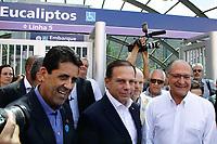 SÃO PAULO, SP, 02.03.2018: METRÔ-EUCALIPTOS - O governador Geraldo Alckmin (PSDB) e o prefeito João Doria (PSDB), inauguram a estação Eucaliptos da Linha 5-Lilás do Metrô na zona sul de São Paulo (SP), nesta sexta-feira (2). A estação fica na região de Moema, bairro nobre da Zona Sul de São Paulo, e, segundo a companhia, tem uma área de 9,3 mil m² e 23,4 metros de profundidade, divididos em quatro pavimentos. (Foto: Fábio Vieira/FotoRua)