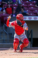 Peoria Chiefs catcher Alexis Wilson (13) throws down to second base between innings during a Midwest League game against the Cedar Rapids Kernels on May 26, 2019 at Perfect Game Field in Cedar Rapids, Iowa. Cedar Rapids defeated Peoria 14-1. (Brad Krause/Four Seam Images)