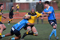 Action from the Canterbury Metro premier club rugby match between New Brighton and Shirley at Rawhiti Domain in Christchurch, New Zealand on Saturday, 6 July 2019. Photo: Dave Lintott / lintottphoto.co.nz