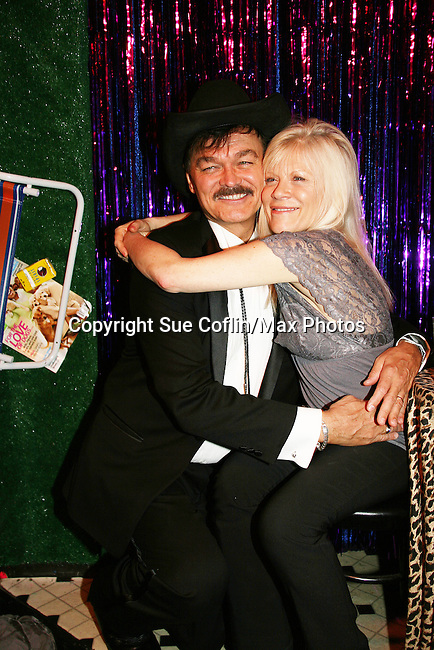 Randy Jones (original cowboy Village People) & One Life To Live's Ilene Kristen on April 28, 2010 at Will Clark's P*rno Bingo at Pieces, New York City, New York to benefit the American Foundation for Suicide Prevention - an event presented by We Love Soaps (Damon Jacobs and Roger Newcomb). (Photos by Sue Coflin/Max Photos)