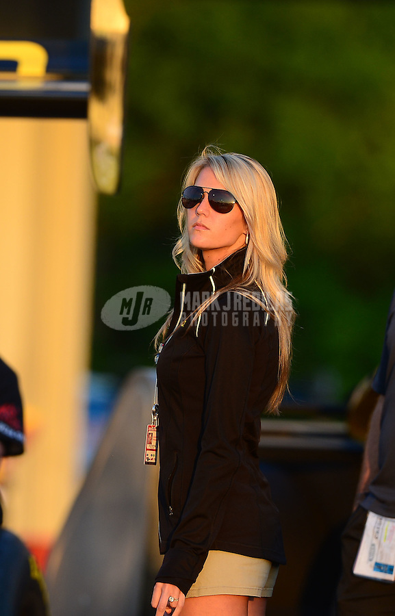 May 4, 2012; Commerce, GA, USA: NHRA fiancé top fuel dragster driver Morgan Lucas during qualifying for the Southern Nationals at Atlanta Dragway. Mandatory Credit: Mark J. Rebilas-