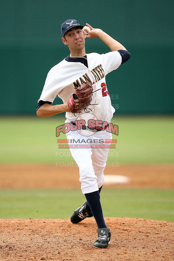 April 15, 2009:  Relief pitcher Mike Ramlow of the Brevard County Manatees, Florida State League Class-A affiliate of the Milwaukee Brewers, during a game at Space Coast Stadium in Viera, FL.  Photo by:  Mike Janes/Four Seam Images
