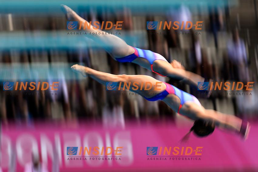 Maria KURJO My PHAN GER Germany <br /> Gold Medal <br /> Women Synchronized Platform Final <br /> London, Queen Elizabeth II Olympic Park Pool <br /> LEN 2016 European Aquatics Elite Championships <br /> Diving  <br /> Day 02 10-05-2016<br /> Photo Andrea Staccioli/Deepbluemedia/Insidefoto