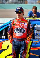 Nov. 14, 2008; Homestead, FL, USA; NASCAR Sprint Cup Series driver Jeff Gordon during qualifying for the Ford 400 at Homestead Miami Speedway. Mandatory Credit: Mark J. Rebilas-
