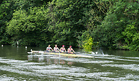 Henley-on-Thames. United Kingdom. New York Athletic Cup USA. moving away from the start, down the side of &quot;Temple Island&quot; during a heat of the Britannia Challenge Cup, 2017 Henley Royal Regatta, Henley Reach, River Thames. <br /> <br /> <br />  Thursday  29/06/2017   <br /> <br /> [Mandatory Credit. Peter SPURRIER/Intersport Images.