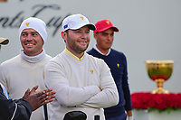 Brandon Grace (RSA) and Louis Oosthuizen (RSA) on the first tee during round 3 Foursomes of the 2017 President's Cup, Liberty National Golf Club, Jersey City, New Jersey, USA. 9/30/2017.<br /> Picture: Golffile | Ken Murray<br /> <br /> All photo usage must carry mandatory copyright credit (&copy; Golffile | Ken Murray)