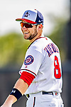 21 February 2019: Washington Nationals infielder Carter Kieboom warms up during a Spring Training workout at the Ballpark of the Palm Beaches in West Palm Beach, Florida. Mandatory Credit: Ed Wolfstein Photo *** RAW (NEF) Image File Available ***