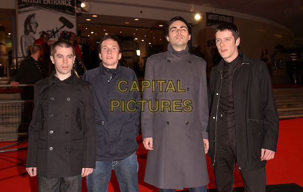HARD FI - KAI STEPHENS, ROSS PHILLIPS, STEVE KEMO & RICHARD ARCHER.The Brit Awards 2006.Earls Court, London England.15 February 2006.Ref: FIN.earl's pop music Brits half length black grey gray jacket coat.www.capitalpictures.com.sales@capitalpictures.com.© Capital Pictures.