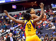 Washington, DC - June 15, 2018: Washington Mystics guard Ariel Atkins (7) goes up for a basket against Los Angeles Sparks guard Chelsea Gray (12) during game between the Washington Mystics and Los Angeles Sparks at the Capital One Arena in Washington, DC. (Photo by Phil Peters/Media Images International)