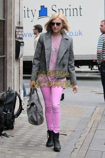 Fearne Cotton arriving at the studios of BBC Radio 1, London, England..July 19th, 2011.full length sunglasses shades pink leggings playsuit dress velvet grey gray jacket bag purse boots.CAP/HIL.©John Hillcoat/Capital Pictures .