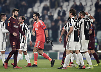 Football Soccer: UEFA Champions League Juventus vs FC Barcelona Allianz Stadium. Turin, Italy, November 22, 2017. <br /> Juventus' players greet FC Barcelona's players at the end of the Uefa Champions League football soccer match between Juventus and FC Barcelona at Allianz Stadium in Turin, November 22, 2017.<br /> Juventus and Barcelona drawn 0-0.<br /> UPDATE IMAGES PRESS/Isabella Bonotto