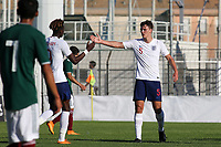 Dael Fry celebrates scoring England's opening goal with Tammy Abraham during Mexico Under-21 vs England Under-21, Tournoi Maurice Revello Final Football at Stade Francis Turcan on 9th June 2018