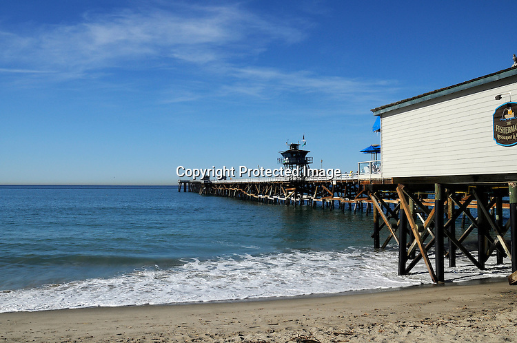 Stock Photo of the pier at San Clemente California overlooking the Pacific Ocean