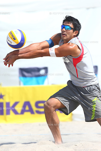 Shinya Hata,<br /> SEPTEMBER 21, 2015 - Beach Volleyball : <br /> JBV Tour 2015 Tokyo Open<br /> Men's Semi-Final<br /> at Odaiba Beach, Tokyo, Japan.<br /> (Photo by Shingo Ito/AFLO SPORT)