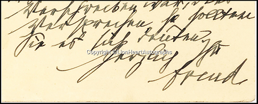 """BNPS.co.uk (01202 558833)<br /> Pic: LionHeartAutographs/BNPS<br /> <br /> An unseen letter in which Sigmund Freud pointed out a 'Freudian slip' and accurately predicted the year of his death has emerged for sale. <br /> <br /> In the 1933 correspondence the neurologist refers to a """"slip of the pen"""", or Freudian slip, when commenting on an error his addressee, Theodor Reik, made in their previous exchange. <br /> <br /> It appears Reik, a protege and close friend of Freud, mistakenly anticipated the publication of his next book. Where he meant to write 1934, he in fact wrote 1939. <br /> <br /> The letter is being sold by American dealer Lion Heart Autographs for £10,000."""