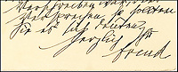 BNPS.co.uk (01202 558833)<br /> Pic: LionHeartAutographs/BNPS<br /> <br /> An unseen letter in which Sigmund Freud pointed out a 'Freudian slip' and accurately predicted the year of his death has emerged for sale. <br /> <br /> In the 1933 correspondence the neurologist refers to a &quot;slip of the pen&quot;, or Freudian slip, when commenting on an error his addressee, Theodor Reik, made in their previous exchange. <br /> <br /> It appears Reik, a protege and close friend of Freud, mistakenly anticipated the publication of his next book. Where he meant to write 1934, he in fact wrote 1939. <br /> <br /> The letter is being sold by American dealer Lion Heart Autographs for &pound;10,000.
