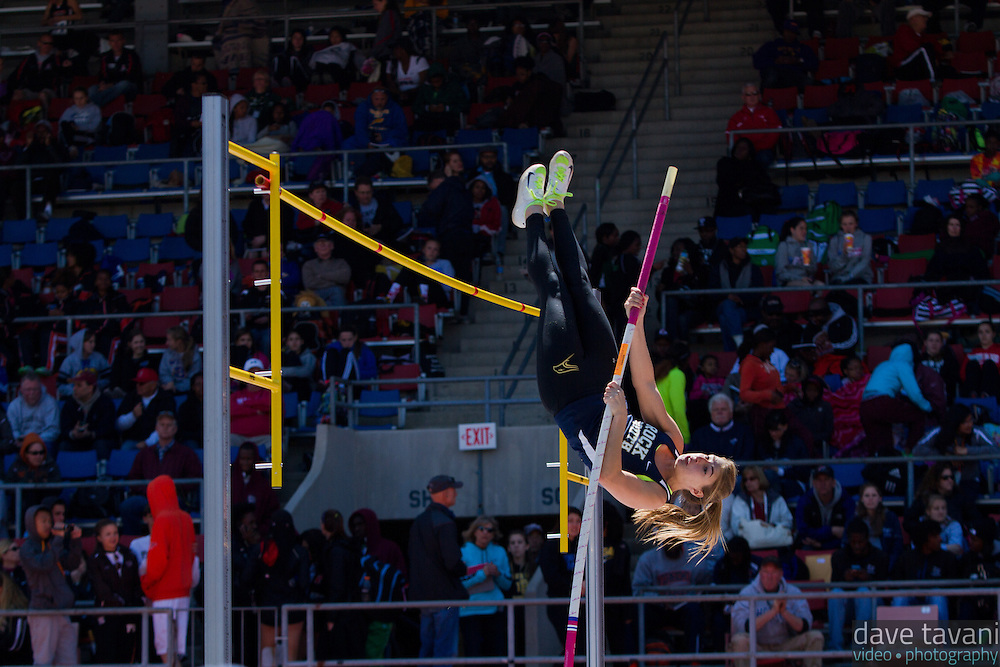 Amanda Benninghoff of Council Rock South vaults toward the bar in the High School Girls Pole Vault Championship of America. Benninghoff place third with a vault of 3.70m.