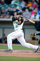 Dayton Dragons catcher Joe Hudson #18 during a game against the Bowling Green Hot Rods on April 20, 2013 at Fifth Third Field in Dayton, Ohio.  Dayton defeated Bowling Green 6-3.  (Mike Janes/Four Seam Images)