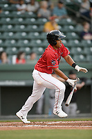 Third baseman Brandon Howlett (35) of the Greenville Drive, playing as the Energia in MiLB's Copa de la Diversion, bats in a game against the Augusta GreenJackets on Wednesday, April 10, 2019, at Fluor Field at the West End in Greenville, South Carolina. Augusta won, 9-8. (Tom Priddy/Four Seam Images)