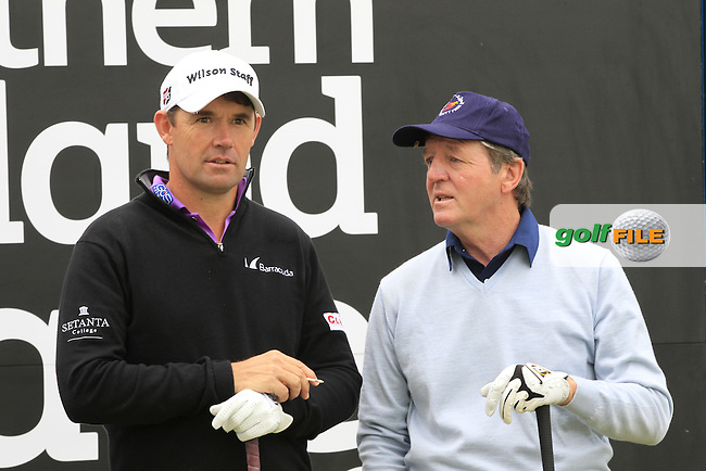 Padraig HARRINGTON (IRL) playing with Des Smyth (IRL) on the 1st tee during the Pro-Am of the 2015 Dubai Duty Free Irish Open, Royal County Down Golf Club, Newcastle Co Down, Northern Ireland. 27/05/2015 <br /> Picture Eoin Clarke, www.golffile.ie