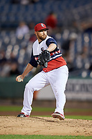 Syracuse Chiefs relief pitcher David Goforth (32) delivers a pitch during a game against the Scranton/Wilkes-Barre RailRiders on June 14, 2018 at NBT Bank Stadium in Syracuse, New York.  Scranton/Wilkes-Barre defeated Syracuse 9-5.  (Mike Janes/Four Seam Images)