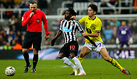 Blackburn Rovers' Lewis Travis battles with Newcastle United's Christian Atsu<br /> <br /> Photographer Alex Dodd/CameraSport<br /> <br /> Emirates FA Cup Third Round - Newcastle United v Blackburn Rovers - Saturday 5th January 2019 - St James' Park - Newcastle<br />  <br /> World Copyright &copy; 2019 CameraSport. All rights reserved. 43 Linden Ave. Countesthorpe. Leicester. England. LE8 5PG - Tel: +44 (0) 116 277 4147 - admin@camerasport.com - www.camerasport.com