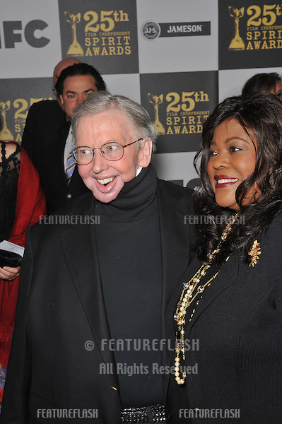 Roger Ebert & wife at the 25th Anniversary Film Independent Spirit Awards at the L.A. Live Event Deck in downtown Los Angeles..March 5, 2010  Los Angeles, CA.Picture: Paul Smith / Featureflash