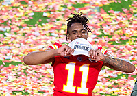 2nd February 2020, Miami Gardens, Florida, USA;   Kansas City Chiefs Wide Receiver Demarcus Robinson (11) shows his Super Bowl Champions hat as he celebrates the Kansas City Chiefs winning the Super Bowl LIV  game against the San Francisco 49ers at the Hard Rock Stadium in Miami Gardens