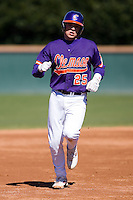 Kyle Parker (25) of the Clemson Tigers rounds the bases following the first of his 3 home runs on the day during the second game of a double header versus the Wake Forest Demon Deacons at Gene Hooks Stadium in Winston-Salem, NC, Sunday, March 9, 2008.  Parker would finish the game 5 for 5 with 7 RBI in the Tigers 12-11 come from behind victory.