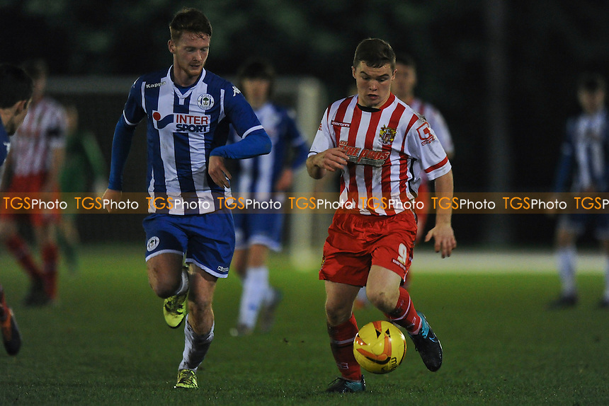 Michael Cregan of Stevenage goes on the attack during Wigan Athletic Youth vs Stevenage Youth, FA Youth Cup Football at Robin Park Arena, Wigan, England on 17/12/2015