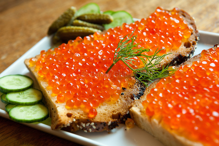 Lox is the new restaurant at the Museum of Jewish Heritage, which now has a take out counter.<br /> The challah and caviar sandwich. <br /> <br /> Danny Ghitis for The New York Times