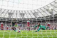 Gabriel Jesus of Manchester City looks to have scored but has the goal ruled out by VAR for off-side during the Premier League match between West Ham United and Manchester City at the London Stadium, London, England on 10 August 2019. Photo by David Horn.