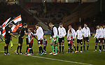 Players shake hands before the game starts during the English League One match at Bramall Lane Stadium, Sheffield. Picture date: November 29th, 2016. Pic Simon Bellis/Sportimage
