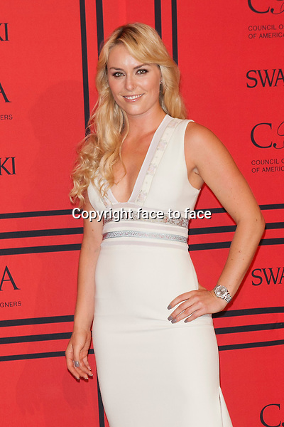 NEW YORK, NY - JUNE 3: Lindsey Vonn at the 2013 CFDA Fashion Awards at Lincoln Center's Alice Tully Hall in New York City. June 3, 2013. <br />