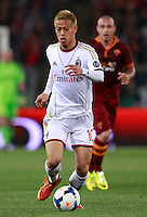 Calcio, Serie A: Roma vs Milan. Roma, stadio Olimpico, 25 aprile 2014.<br /> AC Milan forward Keisuke Honda, of Japan, in action during the Italian Serie A football match between AS Roma and AC Milan at Rome's Olympic stadium, 25 April 2014.<br /> UPDATE IMAGES PRESS/Isabella Bonotto