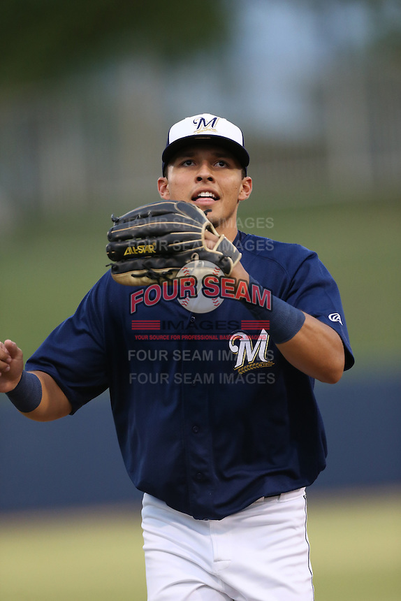 Joantgel Segovia (6) of the AZL Brewers during a game against the AZL Athletics at Maryvale Baseball Park on June 30, 2015 in Phoenix, Arizona. Brewers defeated Athletics, 4-2. (Larry Goren/Four Seam Images)