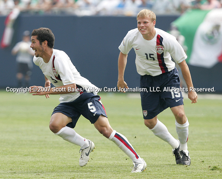 24 June 2007:  USA's Benny Feilhaber (5) celebrates his goal with Frank Simek (15). The United States Men's National Team defeated the national team of Mexico 2-1 in the CONCACAF Gold Cup Final at Soldier Field in Chicago, Illinois.