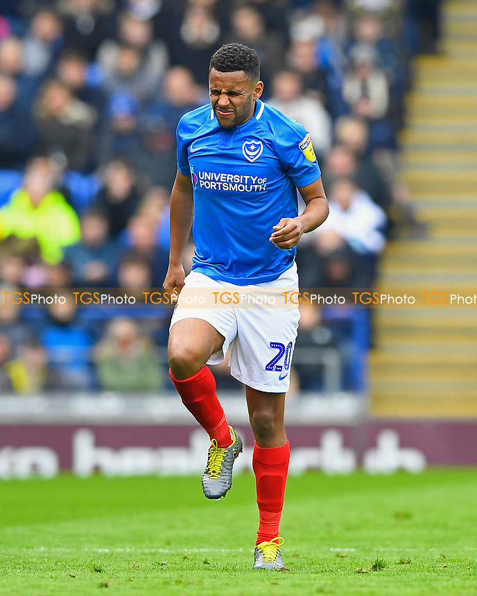 Nathan Thompson of Portsmouth feels some pain during Portsmouth vs Rochdale, Sky Bet EFL League 1 Football at Fratton Park on 13th April 2019
