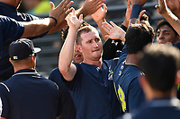 Left fielder Ian Strom (40) of the Columbia Fireflies is greeted after scoring a run in a game against the Rome Braves on Sunday, July 2, 2017, at Spirit Communications Park in Columbia, South Carolina. Columbia won, 3-2. (Tom Priddy/Four Seam Images)