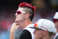 Jake Sparger (44) of the Louisville Cardinals watches the action from the dugout during the game against the Florida State Seminoles in Game Eleven of the 2017 ACC Baseball Championship at Louisville Slugger Field on May 26, 2017 in Louisville, Kentucky.  The Seminoles defeated the Cardinals 6-2 to advance to the semi-finals.  (Brian Westerholt/Four Seam Images)
