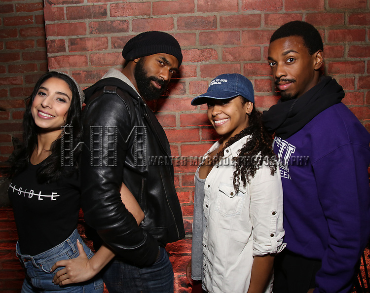 Lauren Boyd, Nik Walker, Sasha Hollinger and Tyler McKenzie backstage during the #EduHam at the Richard Rodgers Theatre on November 15, 2017 in New York City.