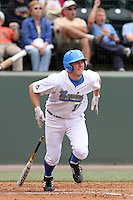 Cody Regis #18 of the UCLA Bruins bats against the Cal. St. Bakersfield Roadrunners at Jackie Robinson Stadium in Los Angeles,California on May 14, 2011. Photo by Larry Goren/Four Seam Images