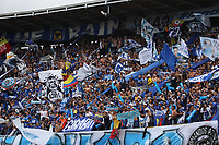 BOGOTÁ - COLOMBIA, 09-03-2019:Hinchas de Millonarios ante el Atlético Nacional durante partido por la fecha 9 de la Liga Águila I 2019 jugado en el estadio Nemesio Camacho El Campín de la ciudad de Bogotá. /Fans of Millonarios agaisnt of Atletico Nacional  during the match for the date 9 of the Liga Aguila I 2019 played at the Nemesio Camacho El Campin Stadium in Bogota city. Photo: VizzorImage / Felipe Caicedo / Staff.