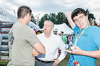South Carolina Senator and Republican presidential candidate Lindsey Graham meets people at the Hillsborough Balloon Festival in Hillsborough, New Hampshire. Graham walked around the festival grounds to introduce himself to New Hampshire voters.