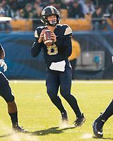 Pitt quarterback Kenny Pickett. The Pitt Panthers upset the undefeated Miami Hurricanes 24-14 on November 24, 2017 at Heinz Field, Pittsburgh, Pennsylvania.
